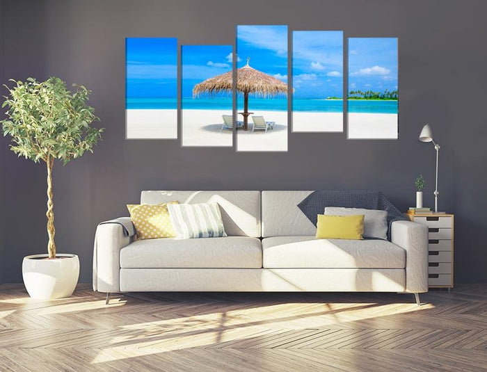 Beach Scene Image Multi Panel Canvas Print wall Art - MPC98 - Art Fever - Art Fever
