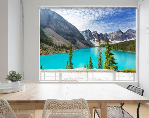 Beautiful turquoise waters Moraine Lake,Banff National Park printed Photo Roller Blind - RB694 - Art Fever - Art Fever