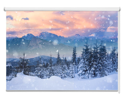 Beautiful Winter Snowy Alpine Mountain, Dolomites, Italy Printed Picture Photo Roller Blind - RB1081 - Art Fever - Art Fever