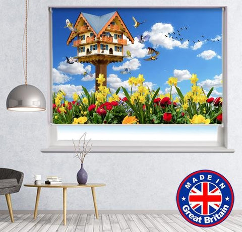 Bird Box Meadow Floral Nature Scene Printed Picture Photo Roller Blind - RB583 - Art Fever - Art Fever