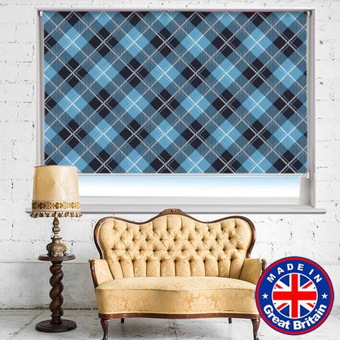 Black Blue Cross Tartan Plaid Pattern Printed Picture Photo Roller Blind - RB609 - Art Fever - Art Fever