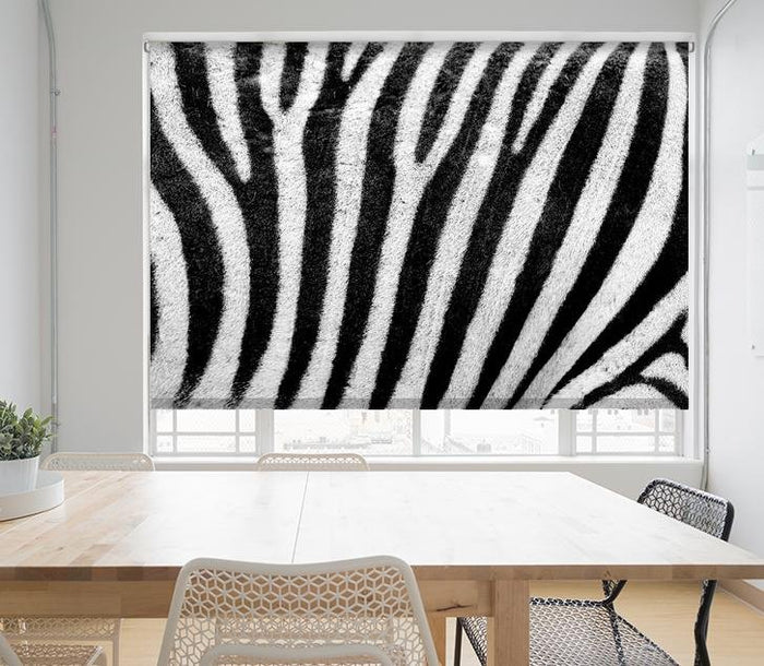 Black & White Zebra Stripes Animal Print Printed Picture Photo Roller Blind - RB676 - Art Fever - Art Fever
