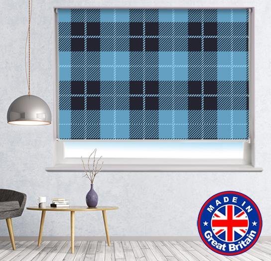 Blue Black Square Tartan Plaid Pattern Printed Picture Photo Roller Blind - RB607 - Art Fever - Art Fever
