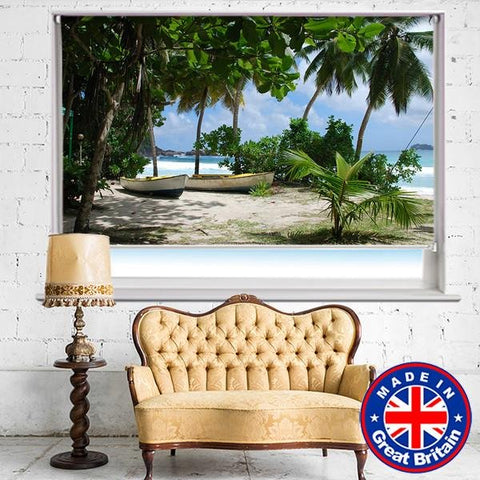 Boats on the Tropical Palm Beach Printed Picture Photo Roller Blind - RB568 - Art Fever - Art Fever