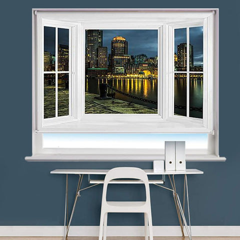Boston Water Front Window Scene Printed Roller Blind - RB837 - Art Fever - Art Fever