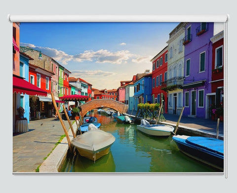 Bright Colorful Houses And Water Street In Burano Printed Picture Roller Blind - RB994 - Art Fever - Art Fever