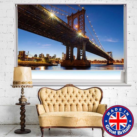 Brooklyn Bridge New York City at Night Printed Picture Photo Roller Blind - RB541 - Art Fever - Art Fever