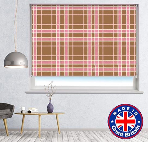 Brown Pink Cross Tartan Plaid Pattern Printed Picture Photo Roller Blind - RB615 - Art Fever - Art Fever