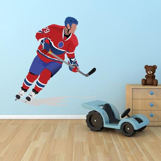 BS13 - Large ice hockey player, removable sports wall decal - Art Fever - Art Fever