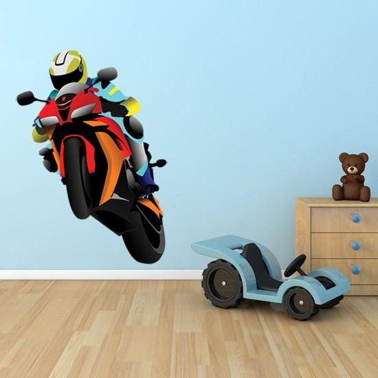 BS3 - Moto GP style racing bike, removable wall decal - Art Fever - Art Fever