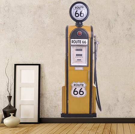 BS47 - LIFE SIZE ROUTE 66 PETROL PUMP WALL STICKER - Art Fever - Art Fever