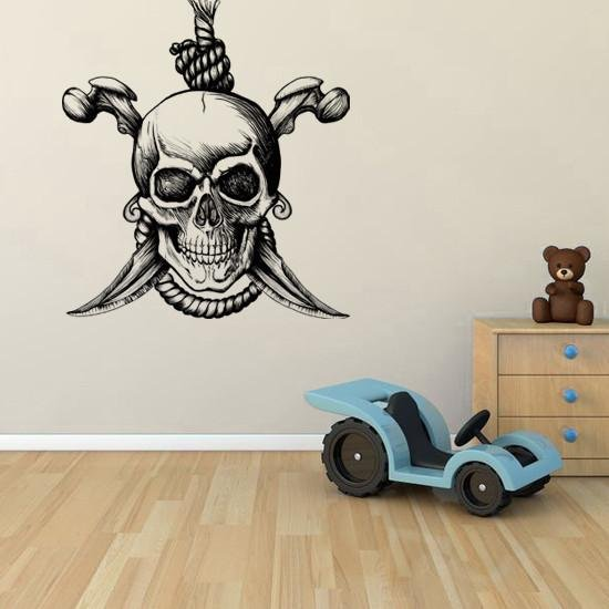 BS63 - Large Skull & cross bone pirate wall sticker - Art Fever - Art Fever
