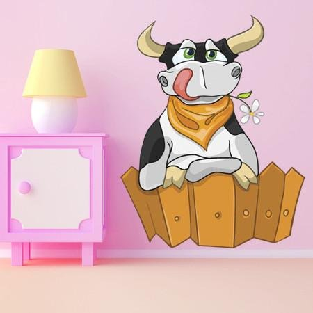 CA10 - Cartoon character cow over the fence nursery wall sticker - Art Fever - Art Fever
