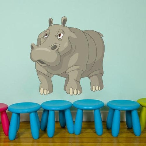 CA20 - Cartoon hippo kids animal wall sticker - Art Fever - Art Fever