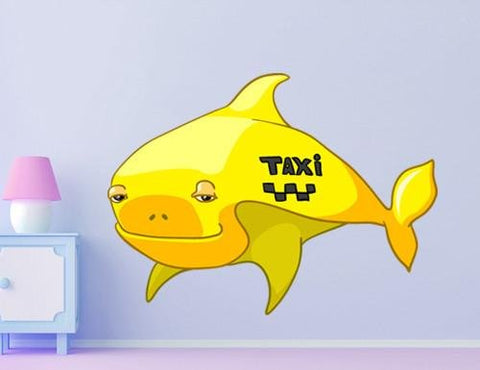 CA28 - Cartoon fish taxi kids large wall sticker - Art Fever - Art Fever