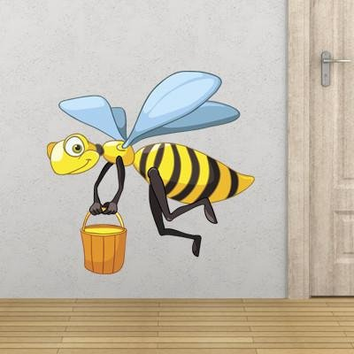 CA3 - Cartoon bee carrying honey removable nursery wall sticker - Art Fever - Art Fever