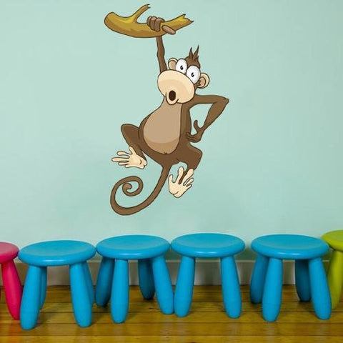 CA32 - Hanging monkey cartoon animal wall sticker - Art Fever - Art Fever