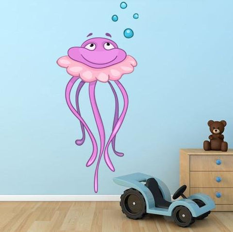 CA36 - Large Medusa jellyfish kids cartoon wall sticker - Art Fever - Art Fever