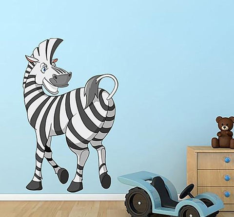 CA52 - Large cartoon zebra animal wall sticker - Art Fever - Art Fever