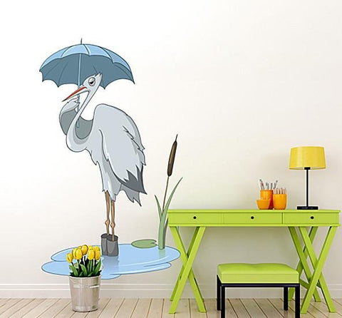 CA59 - Cartoon stork under umbrella large wall sticker - Art Fever - Art Fever