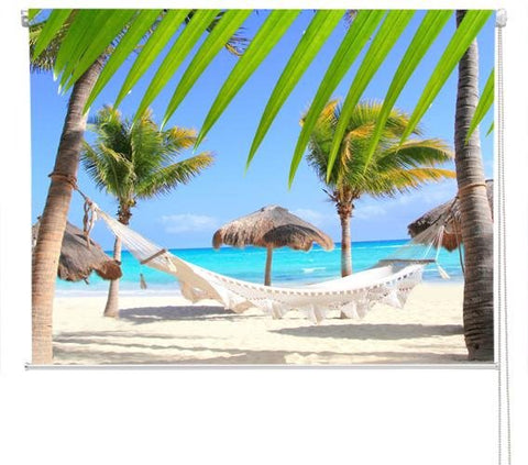 Caribbean Beach Hammock Printed Picture Photo Roller Blind - RB280 - Art Fever - Art Fever