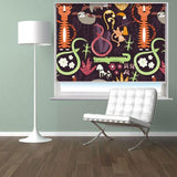 Cartoon Jungle Animals Dark Pattern Printed Picture Photo Roller Blind - RB536 - Art Fever - Art Fever
