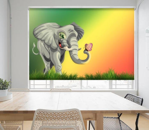 Cartoon Style African Elephant Printed Picture Photo Roller Blind - RB677 - Art Fever - Art Fever