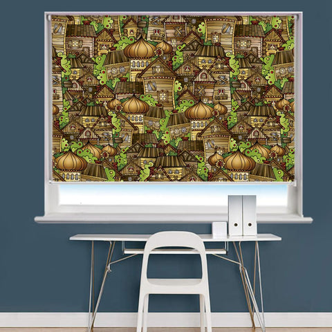 Cartoon Village Pattern Image Printed Roller Blind - RB955 - Art Fever - Art Fever