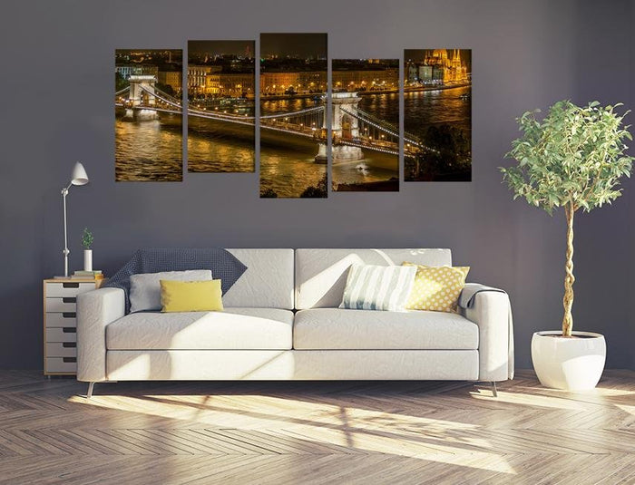 Chain Bridge In Budapest Hungary Multi Panel Canvas Print wall Art - MPC24 - Art Fever - Art Fever