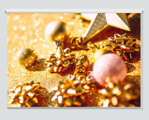 Christmas Composition Golden Decorations Printed Picture Photo Roller Blind - RB1067 - Art Fever - Art Fever