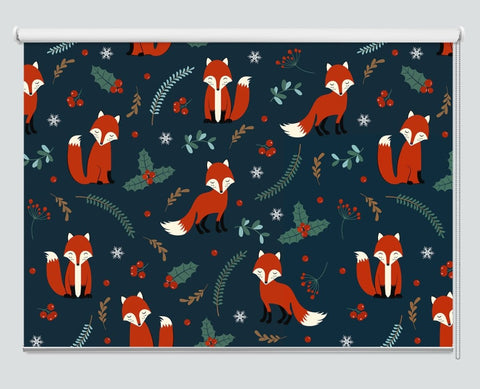 Christmas Fox Holly berry Pattern Printed Picture Photo Roller Blind - RB1068 - Art Fever - Art Fever