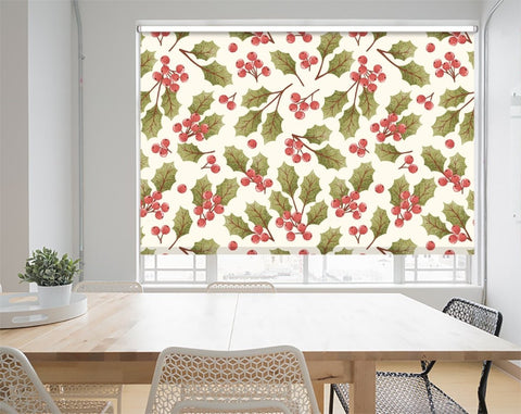 Christmas Holly Berry Pattern Printed Picture Photo Roller Blind - RB1063 - Art Fever - Art Fever