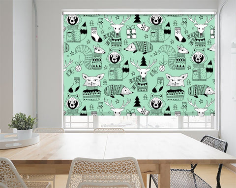 Christmas Pattern Animals Printed Picture Photo Roller Blind - RB1061 - Art Fever - Art Fever
