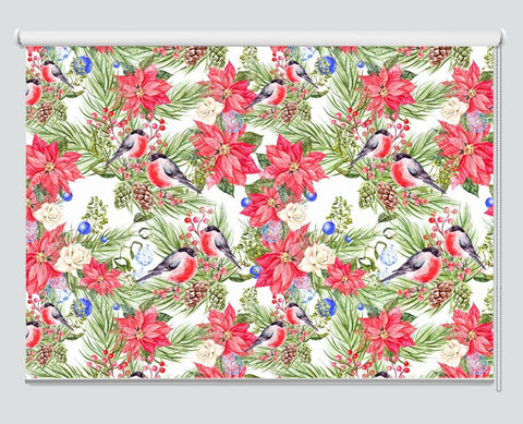 Christmas Pattern With Bullfinch Birds, Pine Cones And Christmas Tree Printed Picture Photo Roller Blind - RB1060 - Art Fever - Art Fever