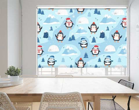 Christmas Pattern With Penguin Background Printed Picture Photo Roller Blind - RB1070 - Art Fever - Art Fever
