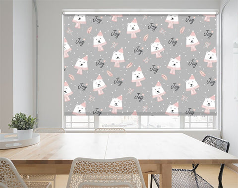 Christmas Pattern With Polar Bear Background Printed Picture Photo Roller Blind - RB1071 - Art Fever - Art Fever