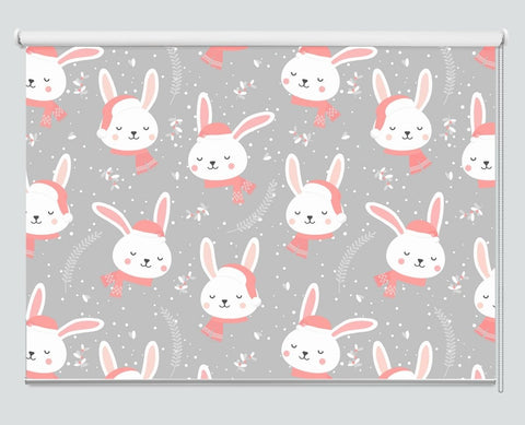 Christmas Pattern With Winter Bunny Printed Picture Photo Roller Blind - RB1069 - Art Fever - Art Fever