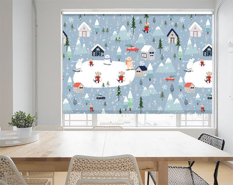 Christmas Polar Bears Skating in the Village Printed Picture Photo Roller Blind - RB1067 - Art Fever - Art Fever