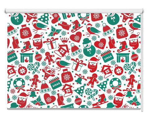 Christmas Presents & Decoration Pattern Printed Picture Photo Roller Blind - RB1065 - Art Fever - Art Fever