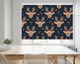Christmas Seamless Pattern With Reindeer Background Printed Picture Photo Roller Blind - RB1072 - Art Fever - Art Fever