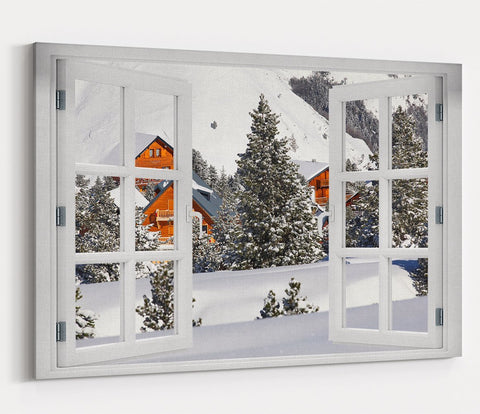 Christmas Snow Scene Through the Window Printed Canvas Print Picture - SPC178 - Art Fever - Art Fever