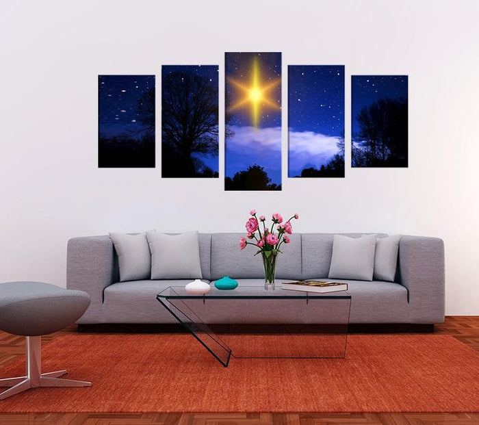 Christmas Star Scene Image Multi Panel Canvas Print wall Art - MPC122 - Art Fever - Art Fever