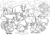 Colour in Canvas print cartoon farm animals 2 - CIC2 - Art Fever - Art Fever
