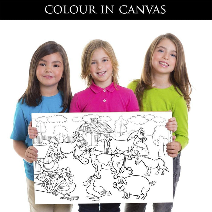 Colour in Canvas print cartoon farm animals - CIC1 - Art Fever - Art Fever