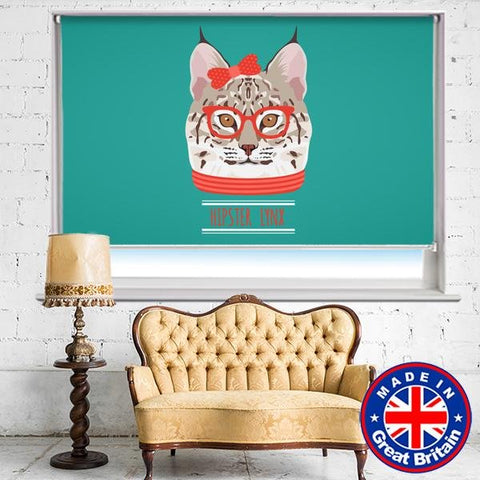 Cool cat with Glasses Printed Picture Photo Roller Blind - RB658 - Art Fever - Art Fever