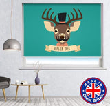 Cool Deer with Top Hat Printed Picture Photo Roller Blind - RB659 - Art Fever - Art Fever