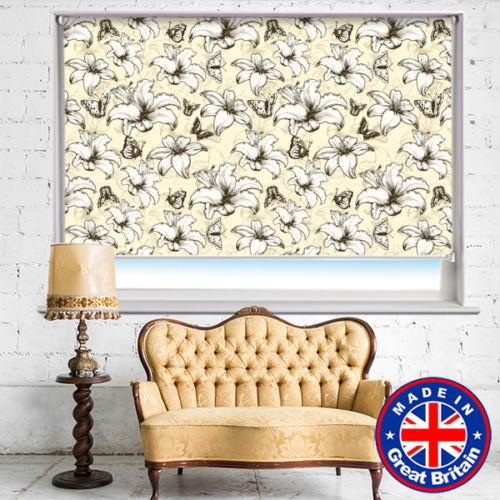 Cream Abstract Floral Printed Picture Photo Roller Blind - RB528 - Art Fever - Art Fever