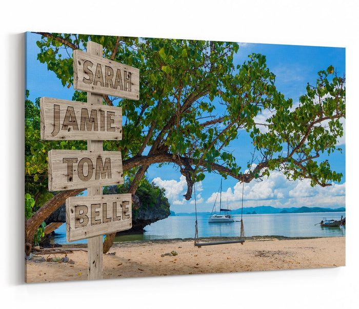 Custom Names Personalised Sign Summer Beach Scene Printed Canvas Print Picture - SPC200 - Art Fever - Art Fever