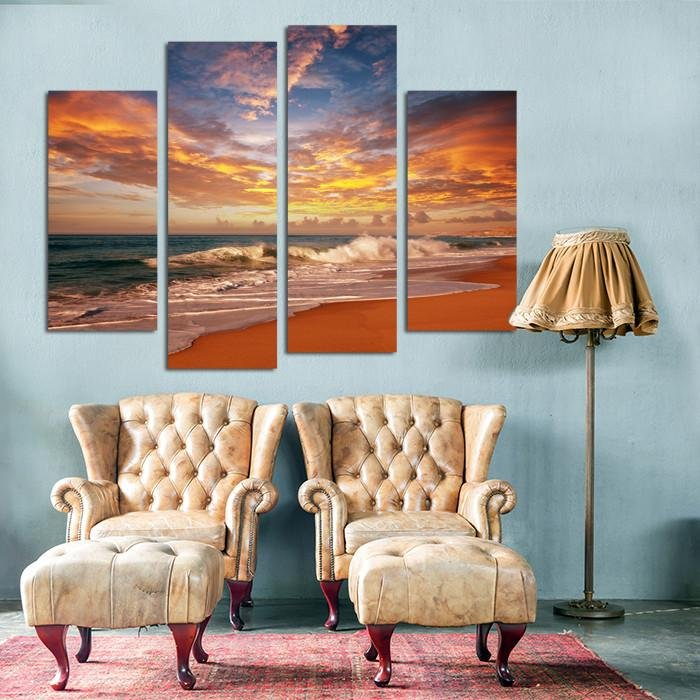 CWA3 - Sea Sunset 4 Panel Canvas Wall Art - Art Fever - Art Fever