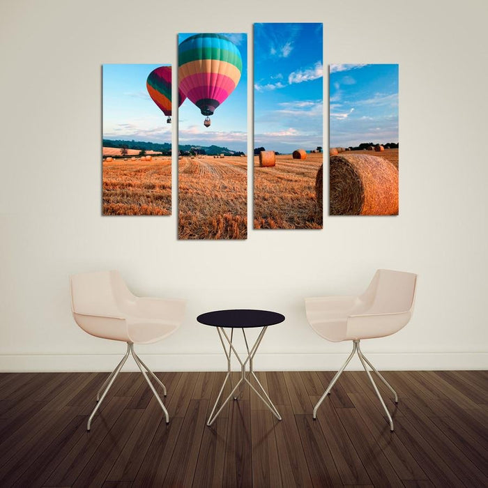 CWA4 - Hot Air Balloons over the hay Field 4 Panel Canvas Wall Art - Art Fever - Art Fever
